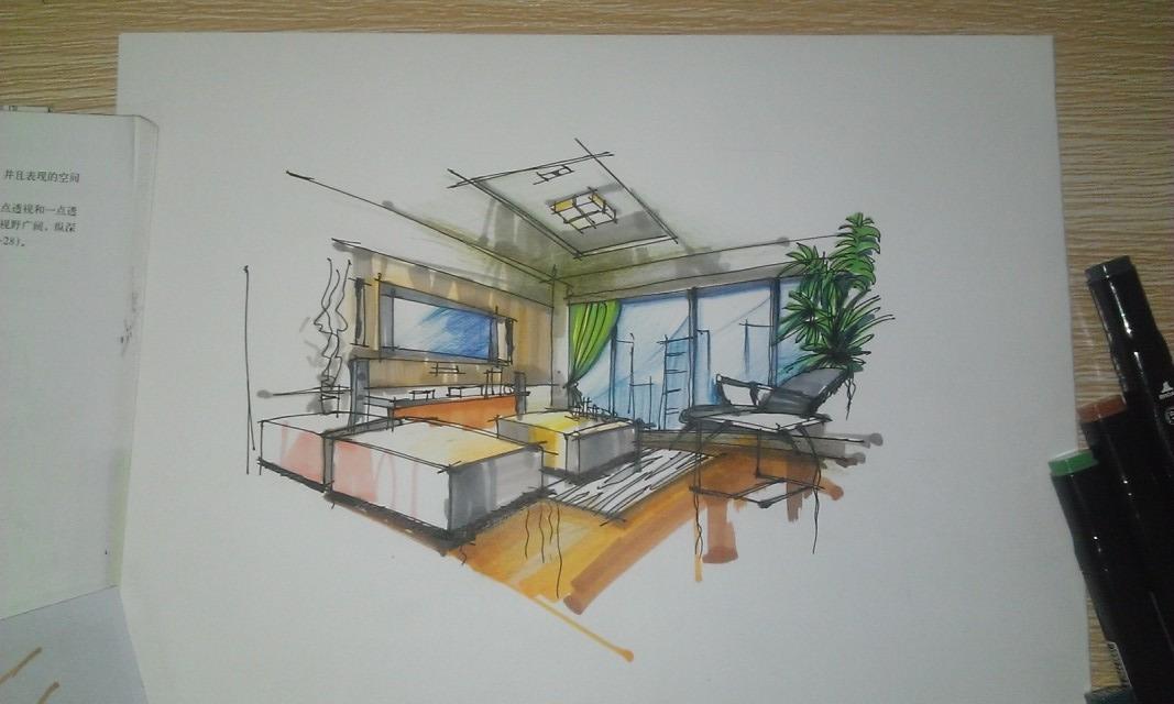 室内平面图手绘彩铅